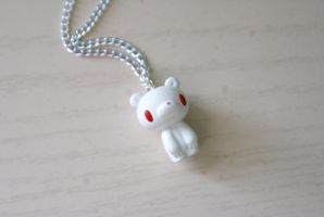 Albino Gloomy Bear Necklace by MonsterBrandCrafts