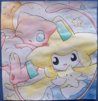 Mew and Jirachi by Kidura