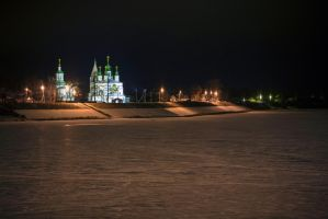 Temple on river by olgaFI