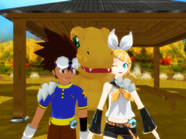 2 digidestineds for 1 digimon by JackFrost-LCDA