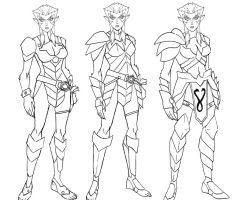 some rough concepts of pumyra in armor by KingJames06