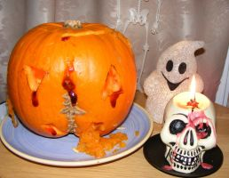 Pumpkin Ghost and skull Stock by Mrs-Dani-Filth-Stock