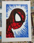 Spiderman Linocut Print by jmnettlesjr