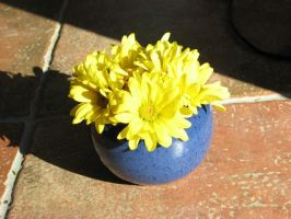 Blue Bowl with Yellow Flowers by Potterycat