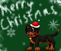 Dachsund Christmas Card by Rika-of-Thunder