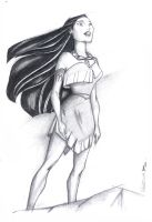 Pocahontas Charcoal Study by PauloDuqueFrade
