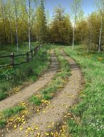 Country Lane Autumn Premade Background by Roys-Art