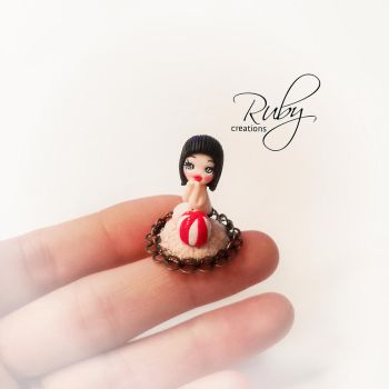 Miniature doll necklace by Ruby-creations