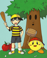 ness + kirby by esuri