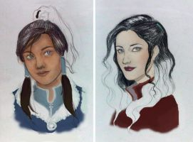 LoK: Korra and Asami WIP2 by Bleunite