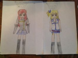 Erza and Lucy  by CBwolf97