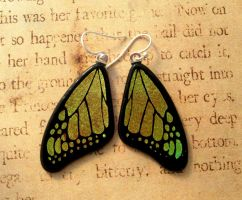 Yellow Green Fused Glass Butterfly Wing Earrings by FusedElegance