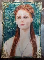 Sansa Stark -  miniature watercolor by Giselle-M