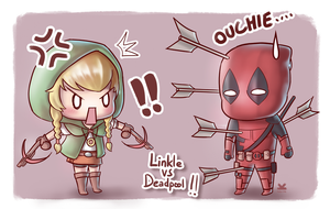 Commission for Planxtafroggie (Linkle vs Deadpool) by Kelsa20