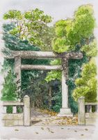 Shinmei shrine 1 - Torii gate by blacktsubu