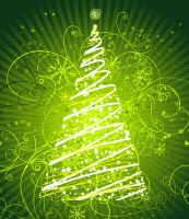 Floral-Christmas-Tree-Green-Background by vectorbackgrounds