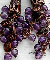 Earrings copper and amethyst by honeypunk