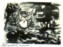 Owl in the dark by Rinmeothichca
