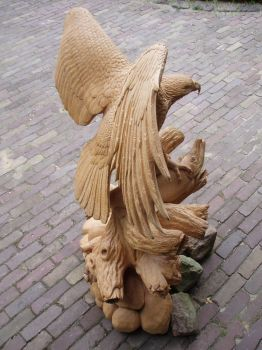 Eagle with salmon2 by woodcarve