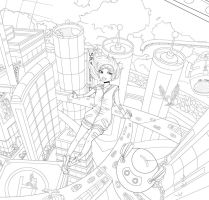 Floating City Lineart by InAnOrdinaryWay