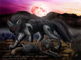 Commission: Dire Wolf and Moon by SheltieWolf