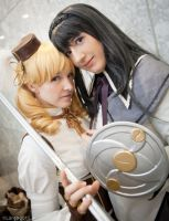 Homura and Mami: The Sky Awaits by FoxGlovesCosplay