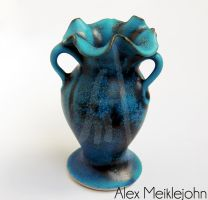 Miniature Hand Thrown Turquoise Large 3Handle Vase by AlexMeiklejohn