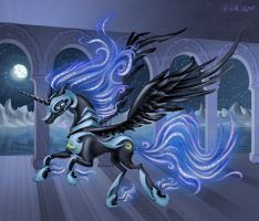 Gallop of Nightmare Moon by environmental-hazard