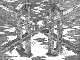 Crossroads by M-C-Escher-Style