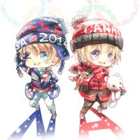 Hetalia ~ chibi North American brothers Sochi by Evil-usagi