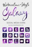 Watercolour-style Galaxy Social Media Icons by everylittlepolish