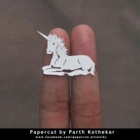 miniature papercut - unicorn by ParthKothekar