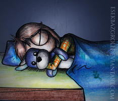 Still sleeping with a teddy bear by EsekBazgroli