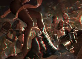 Bar Fight 3-D conversion by MVRamsey