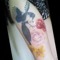 Magpie Thigh Tattoo by comedictragedy