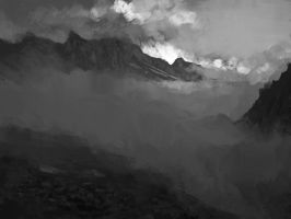 mountains bw by Juhupainting