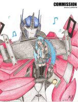 COMMISSION: Optimus Prime and Miku Hatsune by MessyArtwok