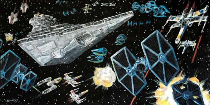 Star Wars Space Battle - Acrylic Painting by AtelierLambert