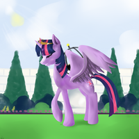 Princess Twilight in Canterlot Gardens (WIP) by Rixnane
