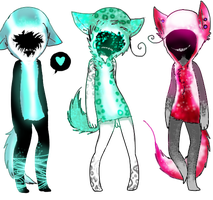 Grown Neko Hooded Monsters CLOSED! by GeniusPopTart-Adopts