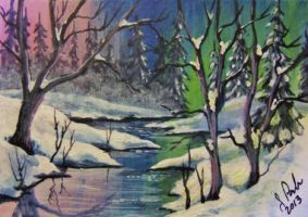 ACEO Wandering Stream #2 by annieoakley64