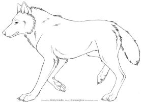 Free Wolf Lineart - Side view by CunningFox