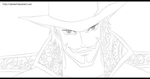 One Piece | Dracule Mihawk - Lineart by xDeidar4