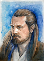 Qui-Gon ACEO by spica-tea
