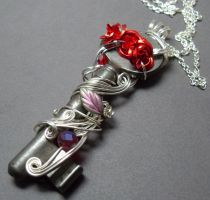 Red Rose Antique Skeleton Key Necklace by sojourncuriosities