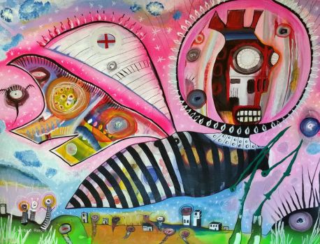 Outsider Art Painting: Bug by bugatha1