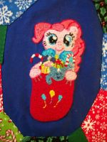 Pinkie Pie Handmade Custom Patchwork Closeup by grandmoonma