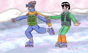 Kakashi and Gai go Skating by Anatra