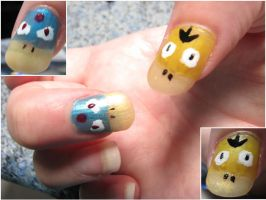 Psyduck and Golduck Nails by shadowprincess104