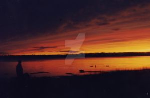 sunset on the Ottawa river by proverbialcheese